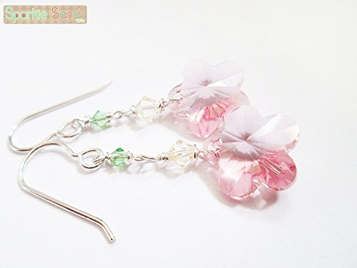 Sakura earring, Pink cherry blossom dangle earrings, Sterling silver Swarovski crystal earring, Kawaii and cute jewelry, gift idea for teens ()