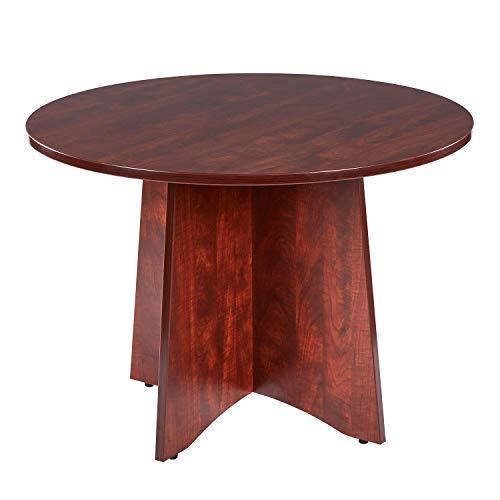 Sunon 41.3 inch Dia Round Conference Table with X-Shaped Wood Panel Small Dining Table (Cherry)