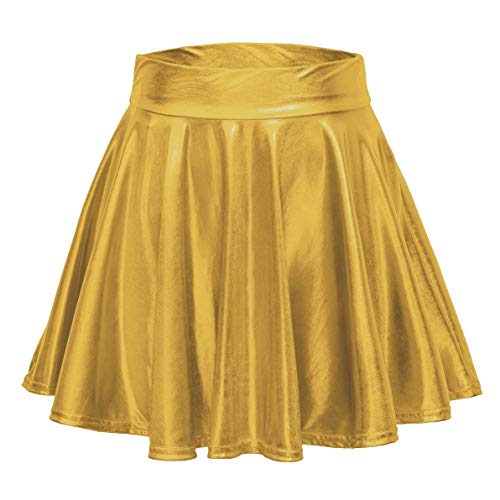 EXCHIC Women's Shiny Metallic Wet Look Stretchy Flared Mini Skater Skirt (XL, Gold) ()