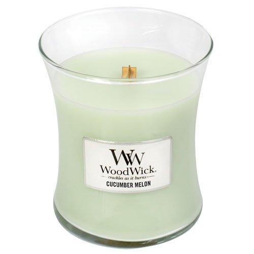 Woodwick Medium Concombre Melon Bougie, Cire, Blanc, 10 x 10 x 11 cm 92046