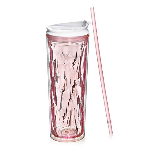 Cupture Crystal Click & Seal Shake Tumbler Cup for Hot or Cold Drinks - 22 oz (Pink Rose) ()