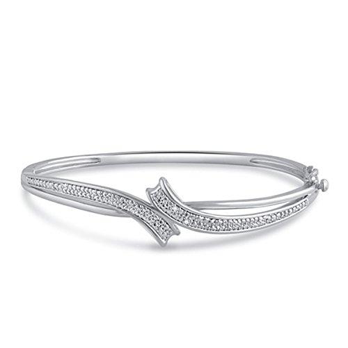 Genuine Diamond Accent Bracelet - Genuine 0.02 Carat Natural Diamond Accent Fashion Bangle In 14K White Gold Plated