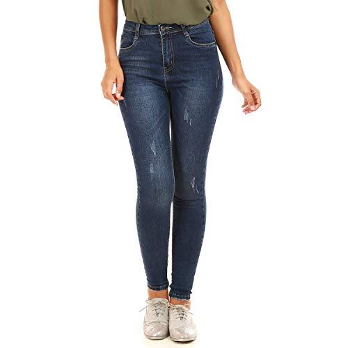 La Modeuse - Jeans Skinny dlav et lgrement us Bleu