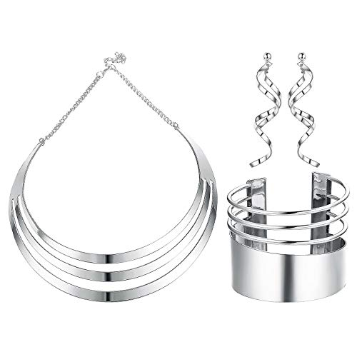 Udalyn Bib Choker Necklace Set for Women Wide Cuff Bangle Bracelets Statement Dangle Earrings Jewelry (Necklace Drop Bib)
