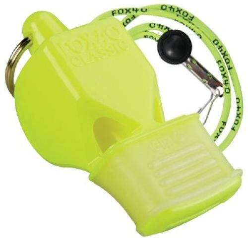 Fox 40 Cmg Whistle - Fox 40 Classic CMG Safety Whistle with Breakaway Lanyard Neon