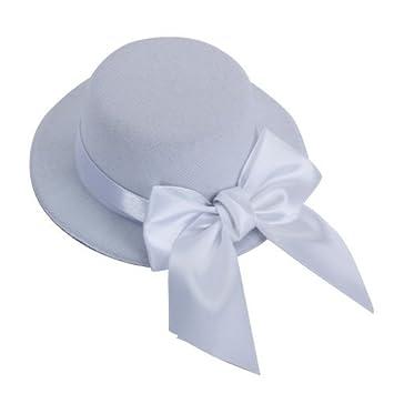 e96de0838 Gleader Ladies Mini Top Hat Fascinator Burlesque Millinery w/ Bowknot -  White