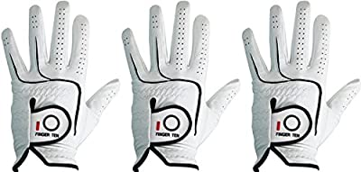 Finger Ten Mens All Premium Soft Cabretta Leather Tour Durafit Left Hand and Right Hand with Cadet Size Golf Gloves Value 3 Pack