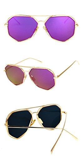 DESESHENME Hommes soleil dorée Lunettes Brand de Lunettes noir violet bordure designer à miroir lentille Protéger soleil Lentille de couleur qrwESrt