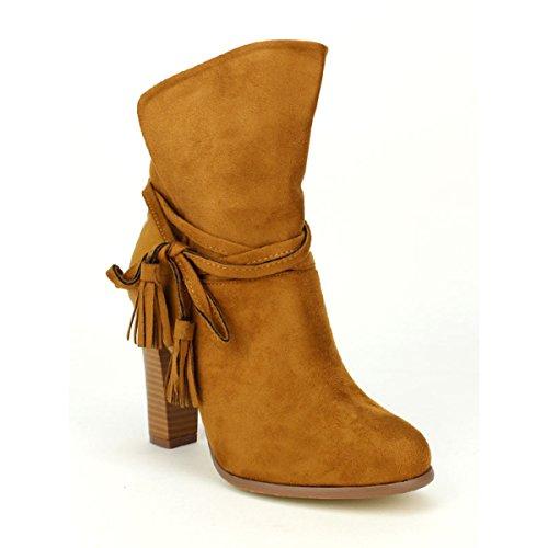 Mode Simili Camel Cendriyon Bottine Chaussures Peau Femme COLLS WpfOavO