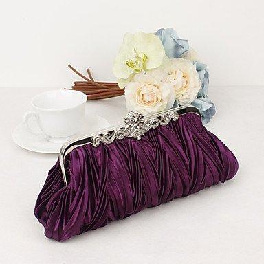 Métallique de Noir Sac Fête Argent Satin Femme Blanc Soirée soirée Mariage Purple amp; Travail Bureau Formel KYS Violet 5qwfPaxB