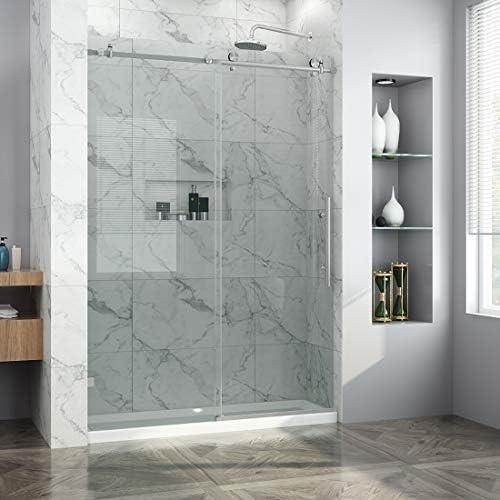 ELEGANT 60 x 79 Frameless Shower Doors, 3 8 Heavy Tempered Glass Sliding Door, Fully Stainless Steel, Brushed Stainless Steel