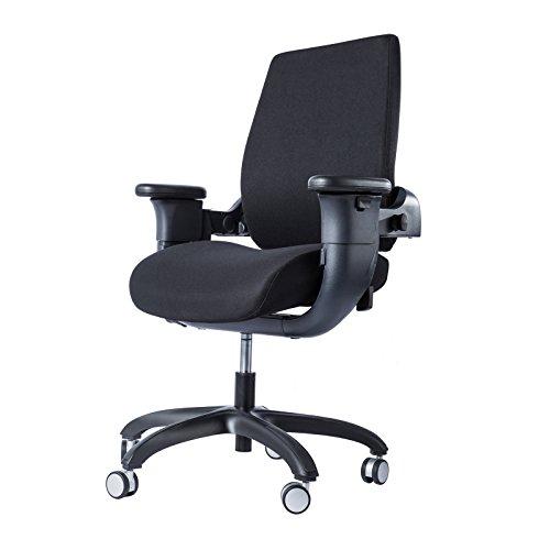 Eureka Ergonomic Office Executive Swing Chair - Ergonomic Mid - Back Swivel Fully Adjustable Patented, Black Fabric Seat & Back