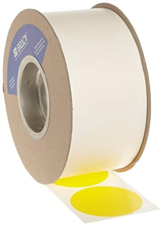 """Brady 3"""" Diameter, B-933 Vinyl Tape, Yellow Color Roll Mounted Dots for Aisle Marking (1000 Dots Per Roll)"""