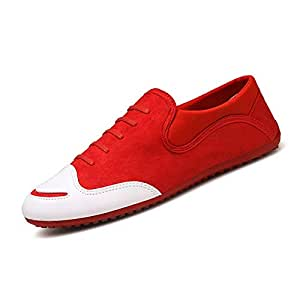 Shangruiqi Canvas Shoes for Men Round Toe Lace Up Low Top Synthetic Leather Suitable for Daily Walking Spring and Autunm Handiness Anti-Wear (Color : Red, Size : 6.5 UK)
