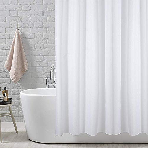 ANSIO Shower Curtain Liner, Shower Curtain, Shower Liner, Shower Curtain Liner Mildew Resistant Anti-Bacterial- 71 x 71 inches (180 x 180 cm) Solid White, Showr Curtain Liner