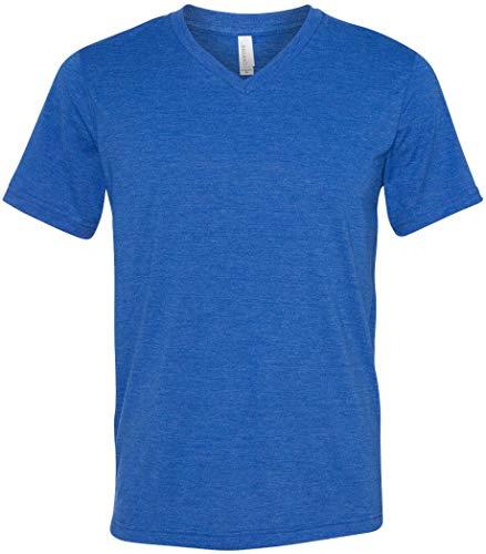 Yoga Clothing For You Mens Tri Blend V-Neck Tee T-Shirt (Mens Medium, True Royal)