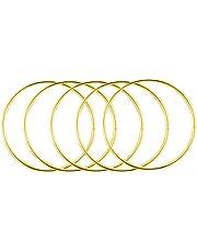 5Pcs Metal Dream Catcher Metal Hoop Craft Ring Macrame Rings Steel Hoops for Dreamcatchers(Gold, 5.9in)