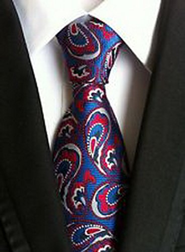 Jacob AleX #47241 Costume Paisley Blue Red White JACQUARD WOVEN Necktie (Voodoo Queen Costume)