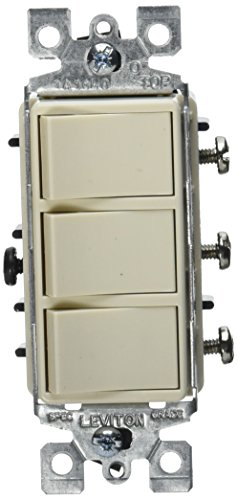 Leviton R66-01755-0TS Decora Triple Rocker Combination Switch, Light Almond