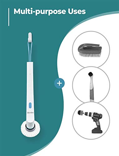 Homitt Electric Spin Scrubber Power Brush Shower Scrubber, Cordless and Handheld Bathroom Scrubber with 3 Replaceable Cleaning Brush Heads, High Rotation for Cleaning Floor, Sink, Tile and Tub