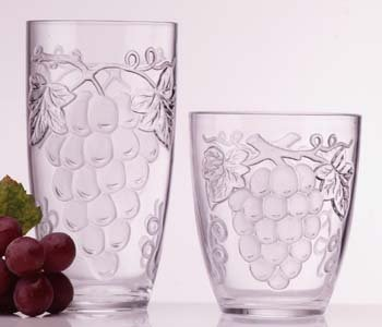 Embossed Grape Clear Acrylic Tall Beverageware 18 (Embossed Grape Acrylic)