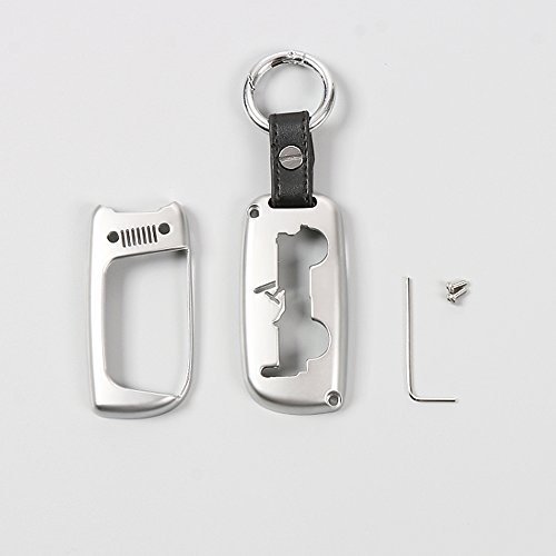 Silver KUJOOY Zinc Alloy Smart Key Fob Shell Cover Keychain Key Ring Guard Holder Case for Jeep Renegade