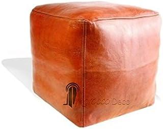Medina Ricordi Pouf Marocchino cubo Tabacco, Pouf Artigianale Fatto a Mano in Vera Pelle