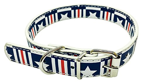 Novenco Dog Collar Cat Collar Adjustable Recycled Leather with Similar American Flag Pattern for Small, Medium and Large Dogs and Cats (L)