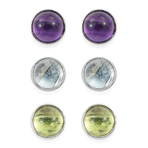 (925 Sterling Silver Round Set of 3 Peridot Stud Solitaire Earrings for Women Jewelry Gift)