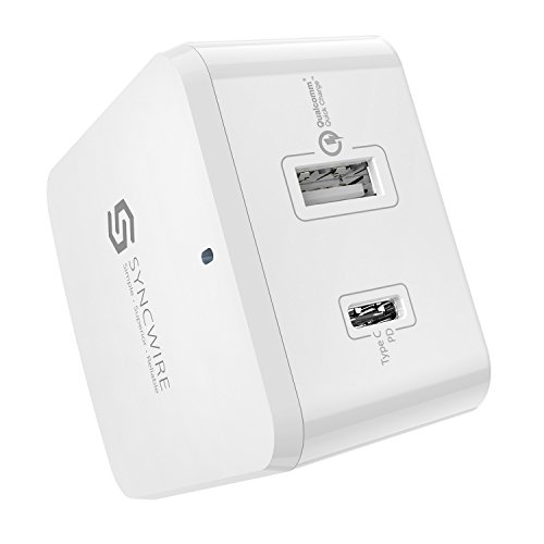 Syncwire USB C PD Wall Charger 30W Type C Power Delivery & 18W Quick Charge 3.0 Fast Charger with US EU UK Adapter for Apple iPhone X/8 Plus/8, iPad, MacBook, Samsung, Nintendo Switch & More