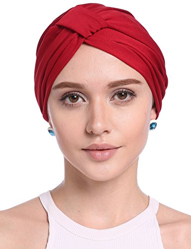 Luccy K Women's Pleated Ruffle Chemo Pre Tied Turban Cap Hair Wrap Cover up -