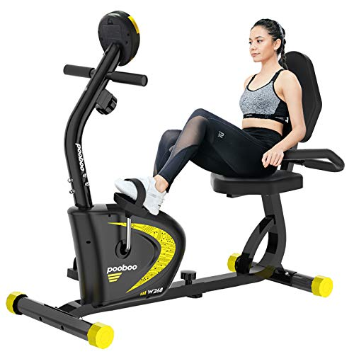 pooboo Magnetic Recumbent Exercise Bike for Adults Seniors,Indoor Stationary Cycling Bike with Adjustable Resistance…
