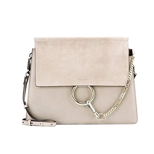 Leather Bag Genuine FY Grey Chain m Purse Shoulder Crossbody Women Link Actlure 1EzWUO6