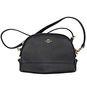 Coach Womens F76673 Leather Dome Crossbody Bag, Black