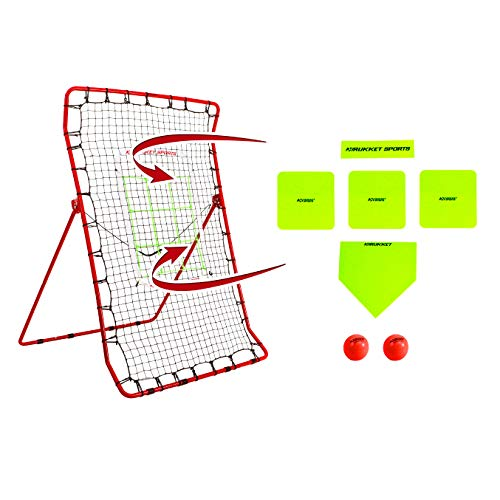 Rukket Pitch Back Baseball/Softball Rebounder PRO | Pitching and Throwing Practice Partner | Adjustable Angle Pitchback Trainer (Red + 2 PurePower Weighted Balls)