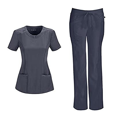 Infinity by Cherokee Womens 2624A Round Neck Top & 1123A Pant Medical Scrub Set