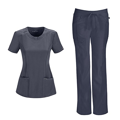 Stretch Low Rise Cord Pants - Infinity by Cherokee Womens 2624A Round Neck Top with badge loop & 1123A Straight Leg Low Rise Comfort Pant Medical Uniform Scrub Set Top & Pants (Pewter - XX-Small)