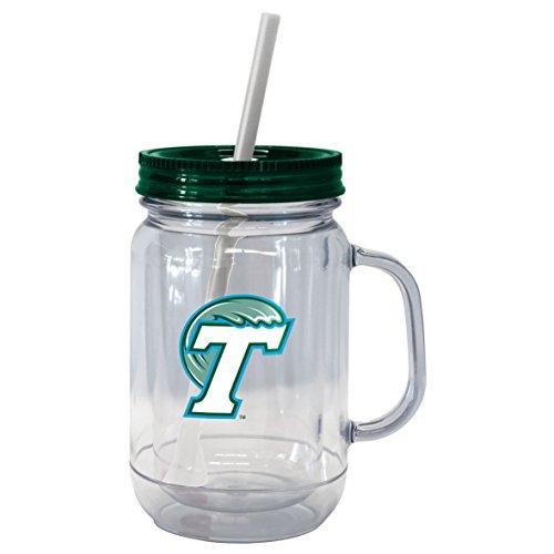 NCAA Tulane Green Wave Mega Mason Tumbler, (Nostalgic Handled)