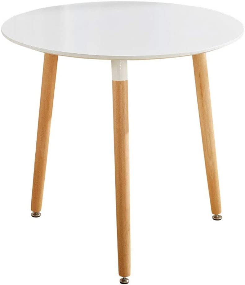 TONINI Mesa de café - Blanco Round Top Cocina Mesa de Comedor con 3 Patas de Madera de Madera Ocio Oficina Tabla de té Conferencia Pedestal Mesa- 31.5