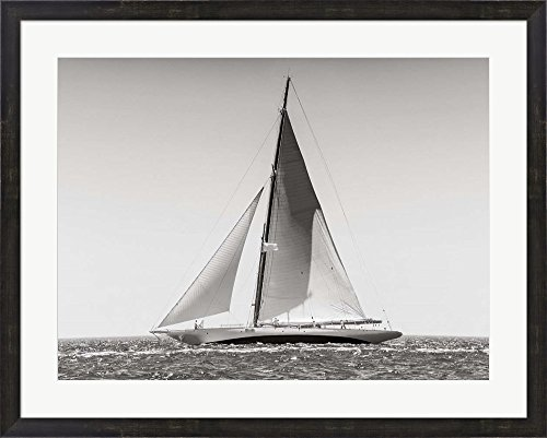 Picture Sailboat (Classic Racing Sailboat Framed Art Print Wall Picture, Espresso Brown Frame, 34 x 27 inches)