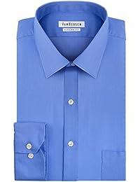 Mens Dress Shirts Regular Fit Solid Pincord Spread Collar
