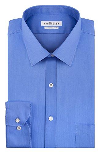 (Van Heusen Men's Pincord Regular Fit Solid Spread Collar Dress Shirt, French Blue, 18
