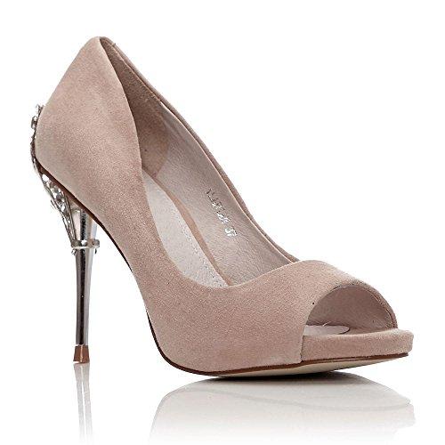 Moda In Zapatos Vestir Mujer Beige De Para Pelle Color Carne wUSRrdwqp