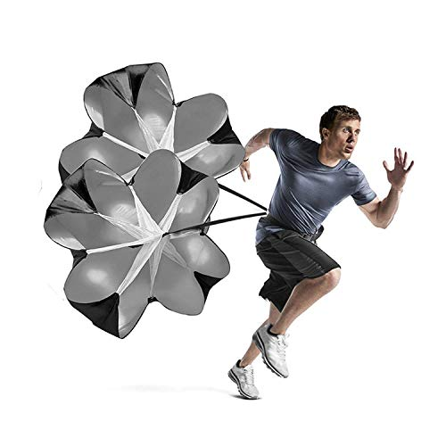 (Bioamy Running Speed Chute Resistance Parachute 56 inch Powerchute 2 Pack Umbrella Training Sprint Power Soccer Trainer for Runner, Football, Soccer Drilling)