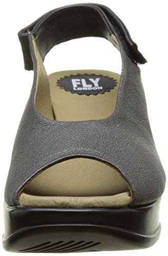 Fly London P143889001, Sandalias de Cuña Mujer Gris (graphite 007)