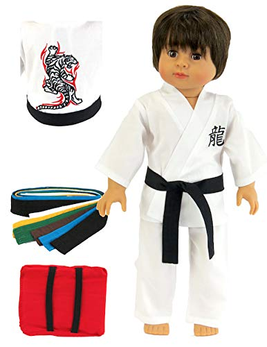 American Fashion World Kickin' Karate Outfit - 18 Inch Doll Clothes - Includes 6 Color Belts and 1 Red Punch Bag