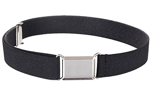 Kids Elastic Adjustable Strech Belt With Silver Square Buckle - Black -
