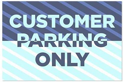 27x18 CGSignLab Customer Parking Only 5-Pack Stripes Blue Window Cling