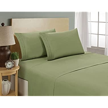 Luxurious Sheets Set 1800 3-Line Collection Brushed Microfiber Deep Pocket - High Quality Super Soft and Comfortable Hotel Collection Sheets by Bellerose(Queen,Sage)