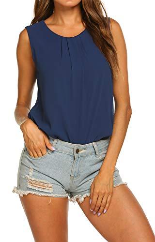 Summer Tops for Women Elegant Sleeveless Wear to Work Blouse Ruched Chiffon Shirt Navy Blue XXL